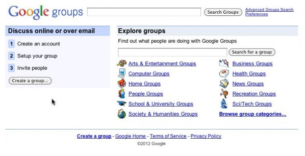 Google Groups Home Page