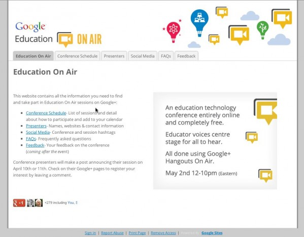 Google Sites Example Screenshot